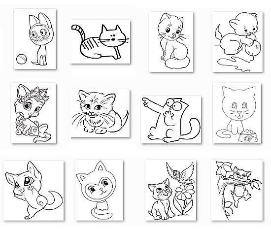 рисунки с котятами - распечатать для раскраски